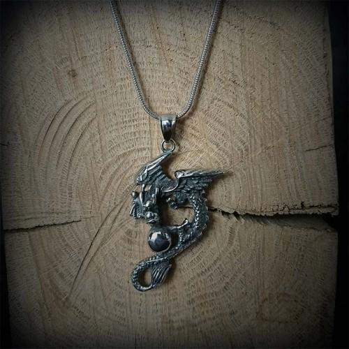Collier Dragon acier,...