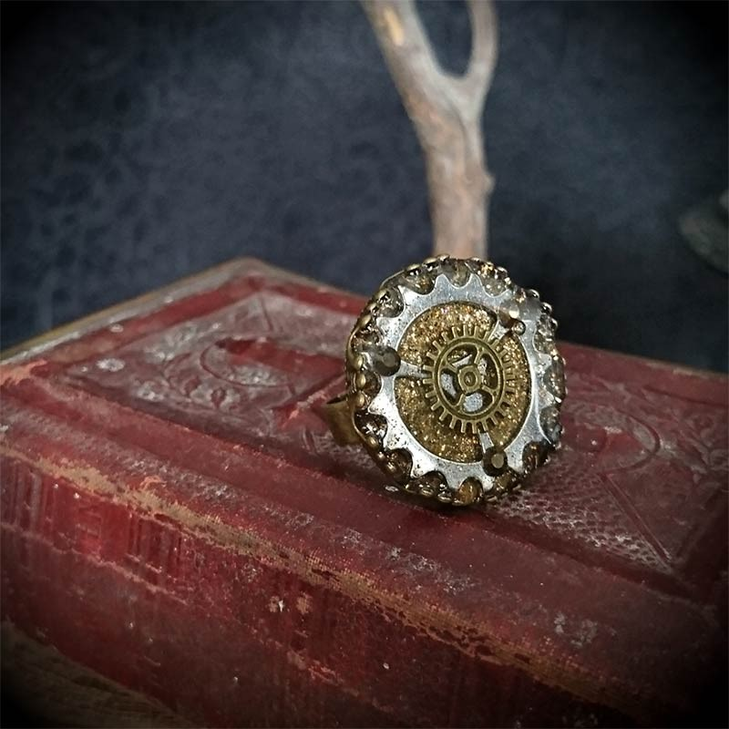 Bague steampunk engrenages bronze et argent, victorien