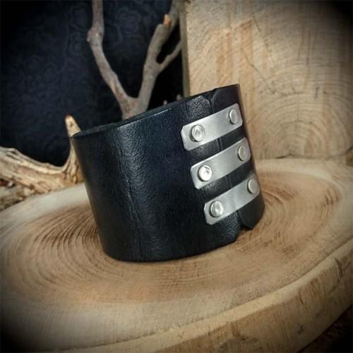 Bracelet de force cuir noir...
