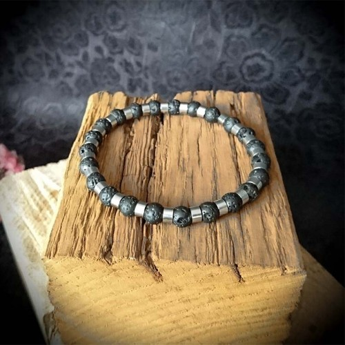 Bracelet perles de lave 6mm...