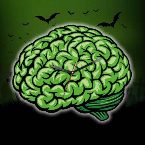 Horloge cervelle zombie verte