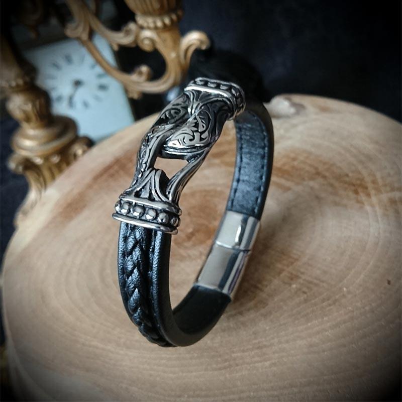 en soldes 7d9a8 540c2 Bracelet simili cuir noeud celtique acier, rock, punk, gothique, biker