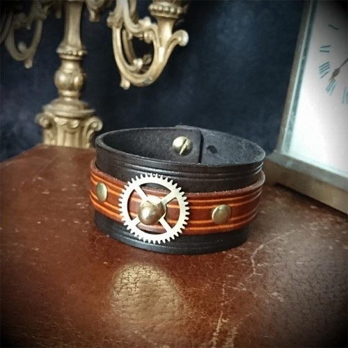 Bracelet steampunk 3cm cuir...