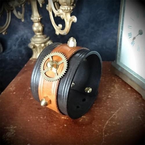 Bracelet steampunk 4cm cuir...