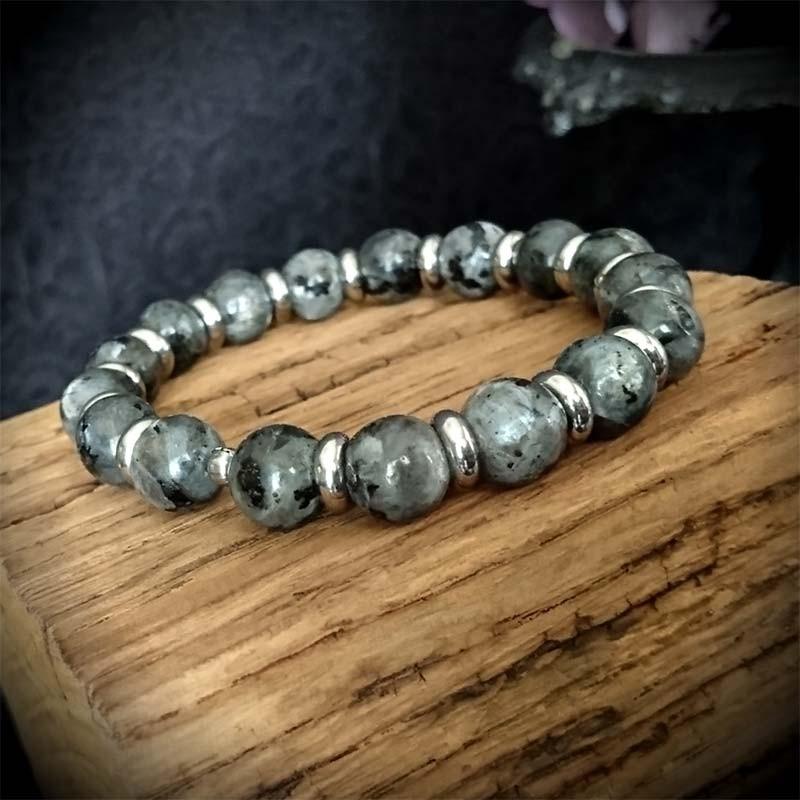 meilleur service a72ac 2bb47 Bracelet perles labradorite 10mm et perles anneaux acier, rock, punk,  gothique, bracelet unisexe