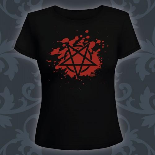T-shirt Femme Blood Pentagram