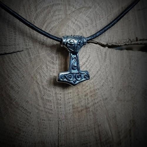 Collier cuir Marteau viking...