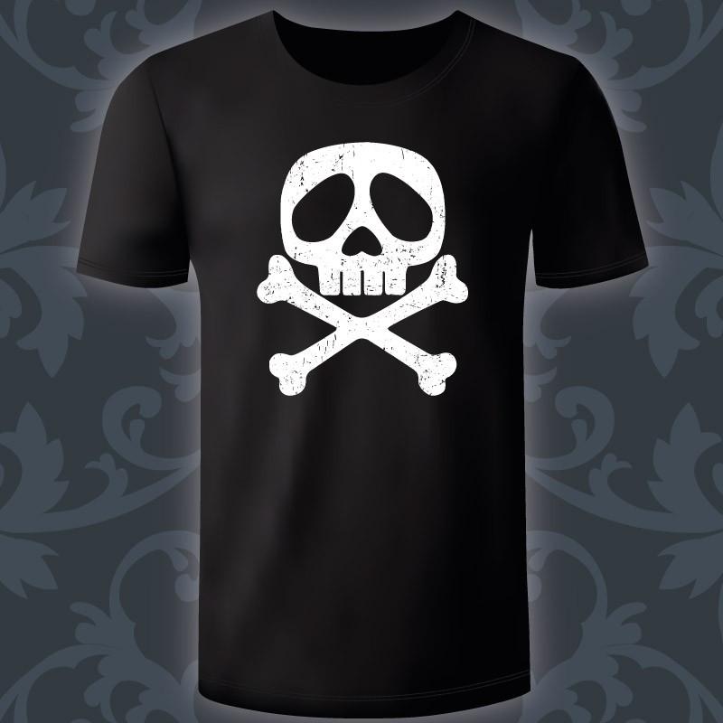 Design reprenant le logo du capitaine Harlock (Albator), aspect usé couleur  blanc. T-shirt noir 100% coton. Impression numérique 4 couleurs. f5ab25af7de1