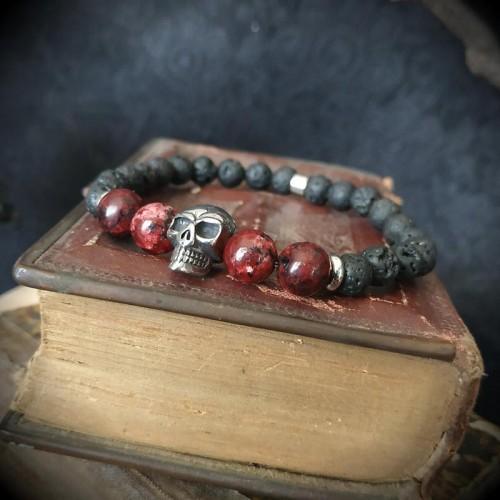 Bracelet perles de lave,...