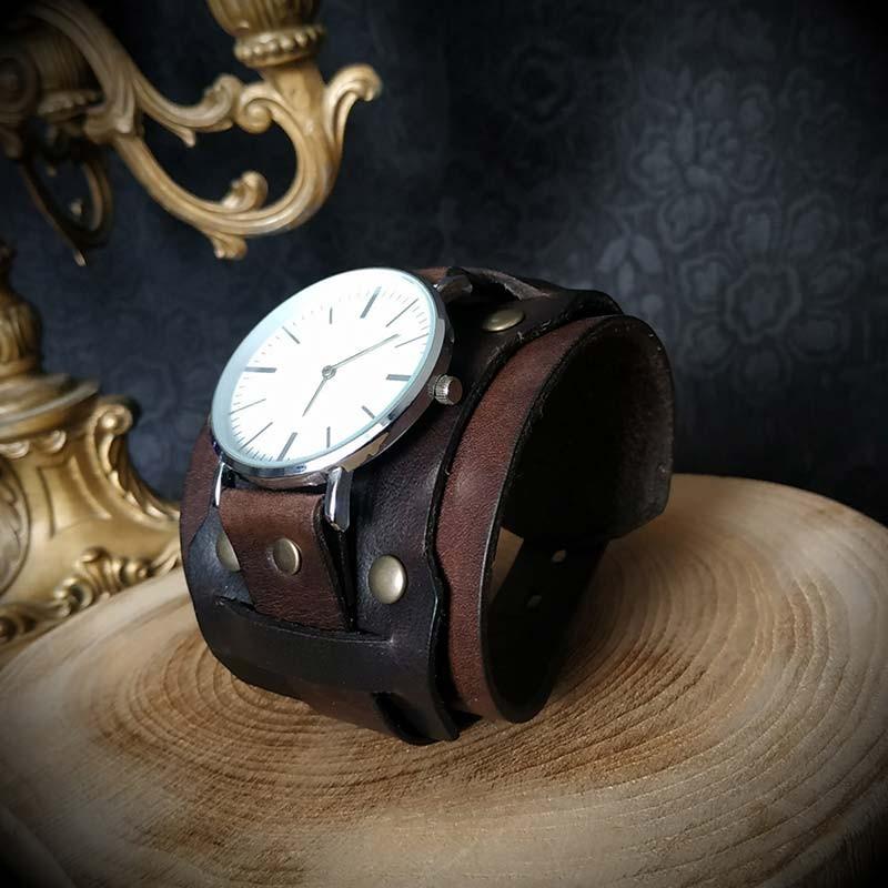 montre bracelet cuir large