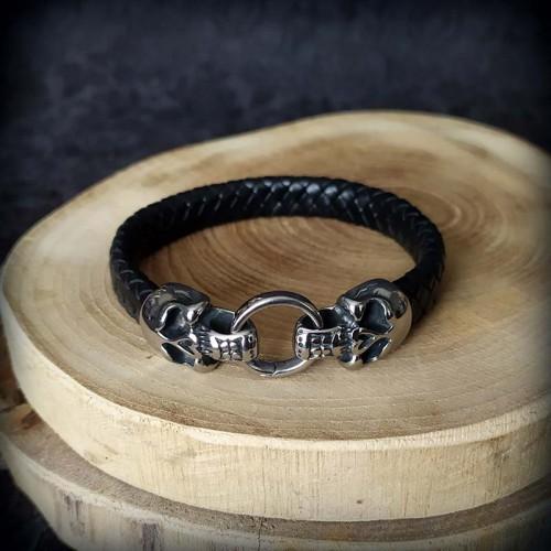 Bracelet simili cuir noir 2...