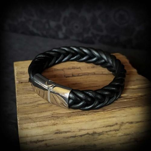 Bracelet large tresse cuir...