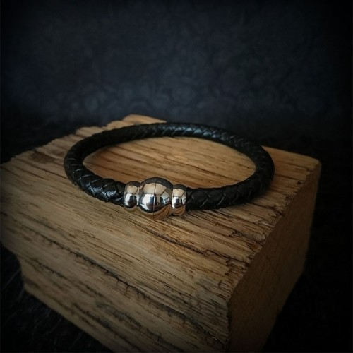 Bracelet tressé cuir noir,...