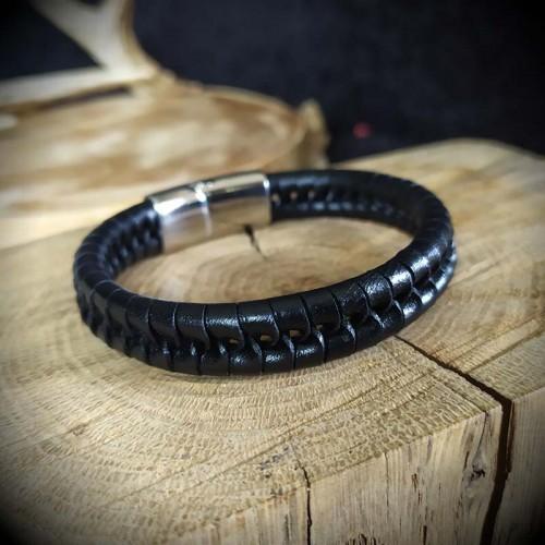 Bracelet cuir noir, cordon...