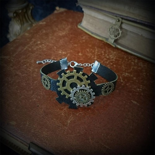 Bracelet steampunk, cuir...