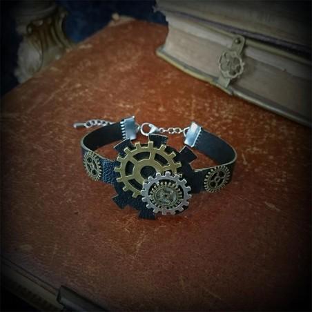 Bracelet steampunk, cuir noir et pièces métal bronze et argent