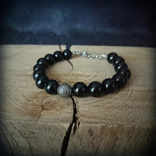Bracelet perles noires Onyx...